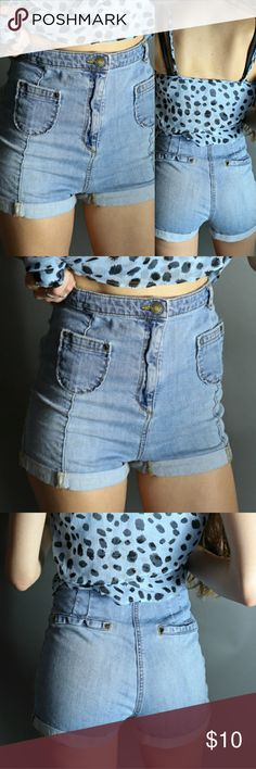 High Waisted Denim Shorts Very high waisted, above the navel, light weight denim shorts. Features itty bitty front pockets and faux back pockets. XS/S Shorts Jean Shorts