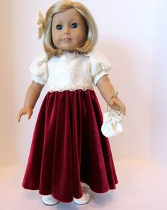 Kit is ready for the holidays or another special event. She has chosen a long velvet like gown. The burgundy skirt is has a very soft feel. The
