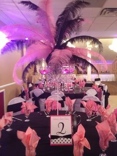 #SweetSixteen #Decorations #Feather centerpieces