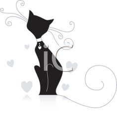 Royalty Free Clipart Image of a Cat With Big Wispy Whiskers and Tail