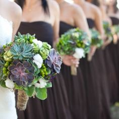 Love the idea of incorporating cotton into the bouquet for a fall wedding (I have a story behind it :)) and the purple hue in the succulents bring out fall colors without the use if oranges and browns
