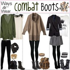 """Ways To Wear; Combat BOOTS*♥"" by xo-polytips on Polyvore"