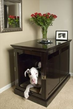 31 Astonishing Indoor Dog Houses Design Ideas That You Need To Try - Most people think of outdoor dog houses when they thing of a dog house. However, there are also indoor dog houses. Which are perfect if you want to ke. Big Dog Crates, Wood Dog Crate, Dog Crate Table, Dog Crate Furniture, Pet Beds, Dog Bed, Really Big Dogs, Green Label, Pet Carriers
