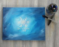 Winter Wedding Guestbook Alternative / Hand Painted Guest Book Canvas / Snowflake Wedding / Personalized Snowflake Painting  #snowflake #winterwedding #guestbook #guestbookalternatives