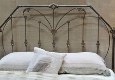 """KY700. One-of-a-kind King bed. Reconstructed from antique full bed. 74"""" overall headboard height."""