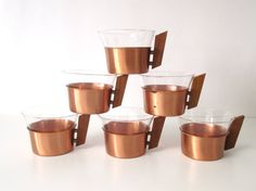 Copper & Teak Tea Set Serving Tray Six Midcentury Copper and