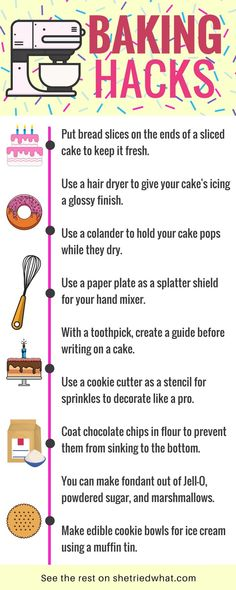 How'd I not know these baking tips & tricks? Amazing baking hacks that are so easy for cake decorating, baking cookies, and more. These are life hacks every girl should know! #baking #lifehacks