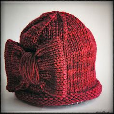 Women's Hand Knit Bow Hat, Cloche, Premium Merino Wool Cashmere, Burgundy Red Ruby