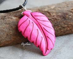 PINK pendant  Leaf pendant  Carved pendant  sterling by Azilaa