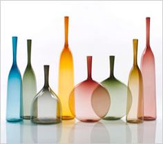 Clear, translucent, modern glass decanters by LA glassblower Joe Cariati.  I want these!