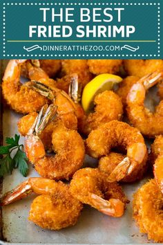 These fried shrimp are jumbo shrimp coated in seasoned breadcrumbs, then deep fried to golden brown perfection. The perfect main course or appetizer. Deep Fried Shrimp, Fried Shrimp Recipes, Breaded Shrimp, Shrimp Recipes For Dinner, Seafood Dinner, Seafood Recipes, Cooking Recipes, Grilled Shrimp, Fried Shrimp Batter