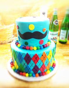 Rainbow mustache birthday cake
