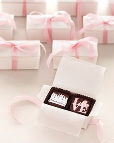 At the end of this Philadelphia wedding, guests received boxes of chocolate treats by Marcie Blaine Artisanal Chocolates.