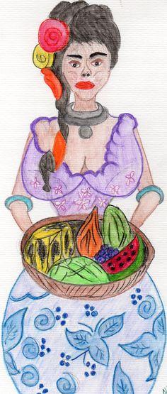 Trabalho em aquarela 2016 Vendedora de Frutas