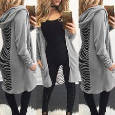 Autumn Long Jacket Women Coat 2017 Women Jacket chaqueta mujer Back Cut Out Cardigan Long Sleeve Ripped Back Long Hooded Coat Cardigan Sweaters For Women, Sweater Coats, Sweater Hoodie, Long Sleeve Sweater, Sweatshirt, Oversized Cardigan, Cardigans, Long Hooded Coat, Loose Tops