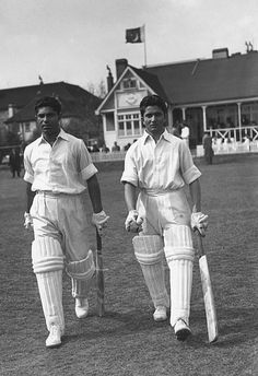 Feb. 26, 1943: Alimuddin, the youngest player to play first-class cricket makes his debut for Rajputana against Baroda in the Ranji semi-final. What's more, he top-scores with 13. And how old was Alimuddin? All of 12 years and 73 days. Photo: Alimuddin (right) comes out to bat with Hanif Mohammad v Indian Gymkhana Club, May 4, 1954.