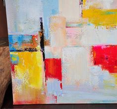 Oversized abstract painting on canvas, Palette Knife Painting, large square canvas art, red, yellow, gold, grey, red, blue, etc.