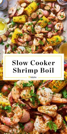 How to Make the Best Shrimp Boil in the Slow Cooker. This southern cajun favorite is easy to make in your crockpot or crock pot. Great for parties in the summer or any kind of party really. You'll be living well with this simple main dish for a crowd if you need food or menu ideas. You'll need frozen shrimp, corn, red new potatoes, parsley, old bay seasoning, Andouille or kielbasa sausage, garlic, lemon.
