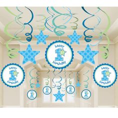 1st Birthday Boy Mega Value Pack Swirl Decorations