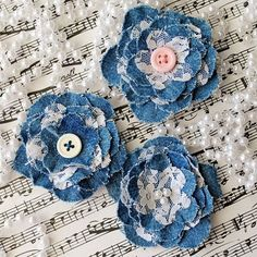 Periwinkle Blue Crochet Flowers for Scrapbooks or Sewing, 12 Handmade Appliques Denim Flowers, Cloth Flowers, Lace Flowers, Fabric Flowers, Crochet Flowers, Beautiful Flowers, Artisanats Denim, Denim And Lace, Jean Crafts