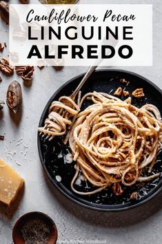 This easy linguine alfredo recipe is perfect for a quick and easy weeknight meal. The sauce is made with cauliflower and pecans and easily made vegan. Whole Food Recipes, Dinner Recipes, Healthy Recipes, Pasta Recipes, Family Recipes, Healthy Kids, Healthy Living, Snack Recipes, Pumpkin Pasta