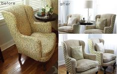 28 Before-After Reupholstered Chairs-Love the different pattern on the back!