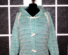 """Купить Пальто-кардиган """"Геометрия"""" - мятный, орнамент, пальто женское, пальто вязаное"""
