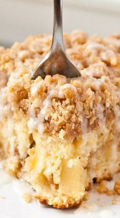 Apple Crumb Coffee Cake ~ Buttery coffee cake studded with apples and finished with a crunchy cinnamon crumb topping.