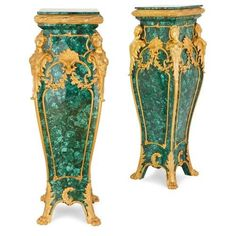 Pair of Rococo style ormolu mounted malachite pedestals | French | Late 20th Century. More details online at mayfairgallery.com