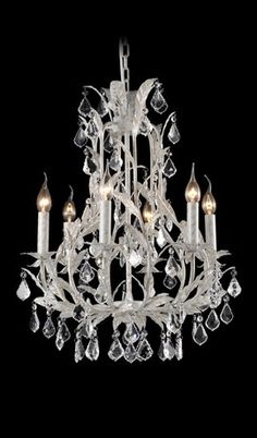 French Provincial Antique White Leaf Traditional Medium Chandelier 6 Lights