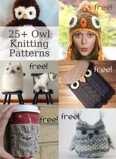 Owl Knitting Patterns Owl Knitting Patterns, many free knitting patterns Baby Knitting Patterns, Teddy Bear Knitting Pattern, Loom Knitting, Free Knitting, Crochet Patterns, Owl Patterns, Knitted Owl, Knit Or Crochet, Knitting Projects
