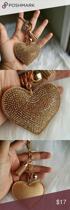 Sparkling key chain for your LV Brand new,  no name brand,  beautiful sparkling gold love heart, price is firm Louis Vuitton Bags Mini Bags