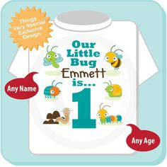 Cute little bug themed tee shirt for One year old boys. A great gift for that 1 year old.