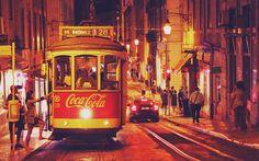 Lisbon, night, tram, Portugal