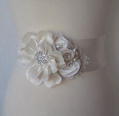 Ivory Bridal Sash Wedding Gown Sash Bridal Belt by TheRedMagnolia, $138.00