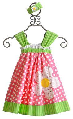 Peaches N Cream Daisy Dot Toddler Dress with Headband $57.50