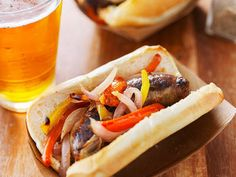 Enjoy our collection of online recipes from kitchens like yours. Browse breakfast recipes, lunch recipes, dinner recipes, dessert recipes and more. Beer Bratwurst, Grilled Bratwurst, German Bratwurst, Sausage Peppers And Onions, Roasted Peppers, Penne, Air Fryer Recipes, Stuffed Green Peppers, Sauce