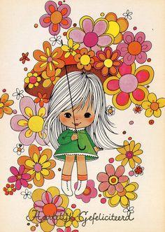 Vintage Postcard Seventies Flowerpower por CuteEyeCatchers en Etsy, €3.50