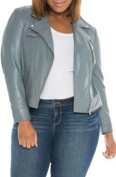 Plus Size Women's Slink Jeans Crop Leather Moto Jacket