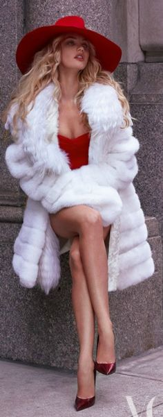 Me, in a red dress & white fur by Rouget Fashion, of course. Shoes Louboutin.