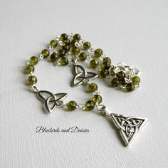 Triquetra Necklace with Olive Green Glass by Bluebirdsanddaisies