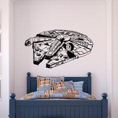 Star Wars parete decalcomania vinile adesivi Millennium Falcon Fighter parete decalcomanie murales bambini bambini adolescenti ragazzi camera camera da letto dormitorio Casa Decor Q107