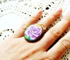 Rose Polymer Clay Ring by jewelryfimo on Etsy, $35.00
