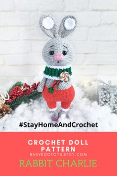 Softie Pattern, Crochet Doll Pattern, Crochet Patterns Amigurumi, Christmas Bunny, Crochet Christmas, Crochet Animal Patterns, Crochet Ideas, Handmade Ideas, Handmade Toys