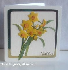 FEB 2012, Wales - Handmade Decoupaged Daffodil 'With Love' Card, by Dees Designs