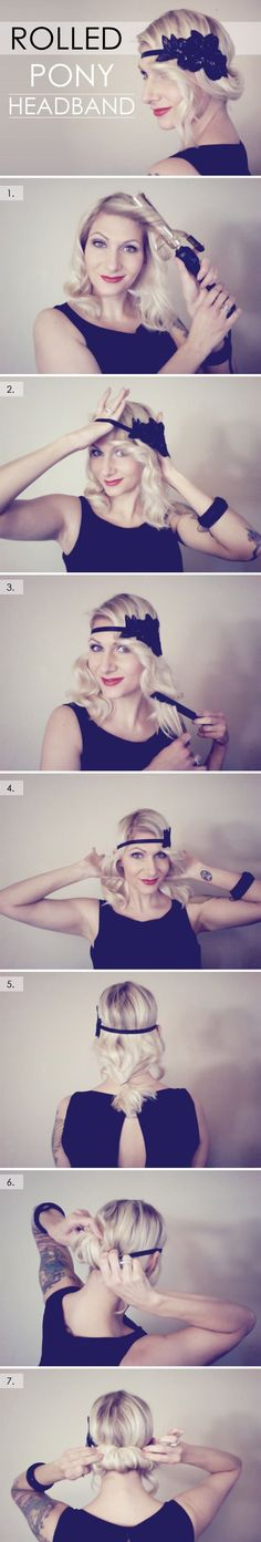 Looks adorable and easy! Rolled ponytail headband style for a cute vintage look. #retrohairstyles #vintagehair #hairstyles