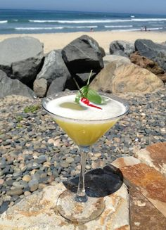"""Miguel Zamora, manager and mixologist at Pacific Coast Grill, says that the restaurant's sweeping oceanfront views provide the inspiration for his innovative cocktail creations. """"The Pipes Martini is the perfect cocktail for a great day at the beach. At the restaurant, it goes hand in hand with our wide array of seafood options."""" Get the FREE, printable recipe card here! #cocktail #drink #recipe #entertain #beach"""