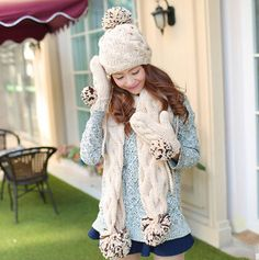 Hairball knit hat scarf and gloves set for women winter