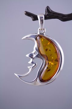 Man in the Moon with Baltic Amber and Sterling Silver Pendant