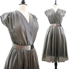 Vintage 70s 80s Dress Silver Sparkly Surplice Full by voguevintage